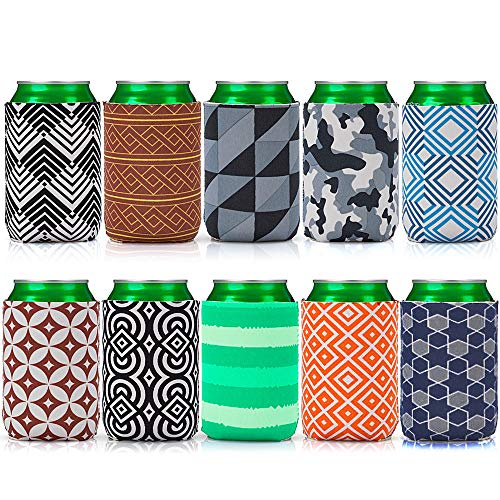 Avery Barn 10pc Mixed Trendy Design Neoprene Zipper Sleeve Insulated Beer Can Covers - Set 3: Patternpalooza