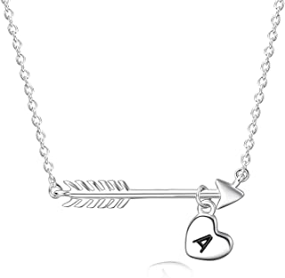 Initial A Heart Necklace Sterling Silver Cupid Arrow Choker Necklace, Capital Letter Heart Choker Necklace Graduation Gifts for Her,16+2