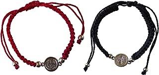 San Benito Bracelet - 2 Pack Bundle Red & Black - Pulseras Rojas de protección - st Benedict Bracelets with Medal - Pulseras de Hilo de San Benito - con medalla de San Benito - red String Bracelet