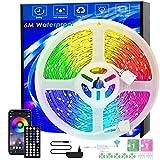 LED-Streifen, 6m Wasserdicht, Musiksynchronisation, Farbwechsel, RGB-LED-Streifen, 44-Tasten-Fernbedienung, empfindliches eingebautes Mikrofon,...