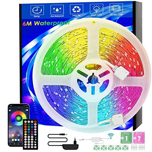 LED-Streifen, 6m Wasserdicht, Musiksynchronisation, Farbwechsel, RGB-LED-Streifen, 44-Tasten-Fernbedienung, empfindliches eingebautes Mikrofon, App-gesteuerte LED-Leuchten, 5050 RGB LED Lichtstreifen