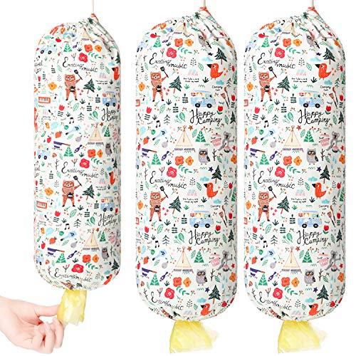 Plastik Tasche Halter Einkaufstüte Spender Hängende Aufbewahrungstasche Müllsack Organizer für Küchen Reise Lieferung (18,1 x 7,9 Zoll, 3 Stück)