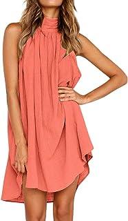 Womens Holiday Irregular Dress Ladies Summer Beach Sleeveless Party Dress