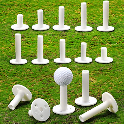 Sumind 15 Pieces Golf Rubber Tees Golf Practice Holder in 5 Different Sizes for Golf Practice