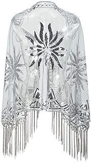 Ultramall Women 1920s Shawl Wrap Art Deco Sequin Tassel Evening Cape Bolero Flapper Cover Up For Women