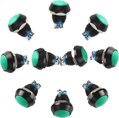 wholesale Larcele outlet sale 12mm Push Button Switch Waterproof online Mini Metal Momentary Switch with Screw Terminal,10 Pieces JSANKG-13 (Green) outlet sale