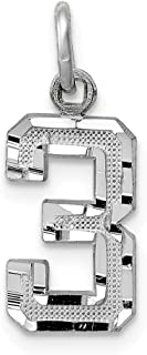 JewelrySuperMart Collection 14k Gold Diamond-Cut Number Charm Pendant with Satin Finish - # 0 to 99 Available