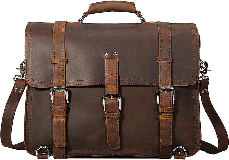 RABILTY Multifunctional Crazy Horse Large Capacity Outdoor Backpack Hand Bag Men's Messenger Bag Leather Man Bag Business Bag (color   Dark Brown)