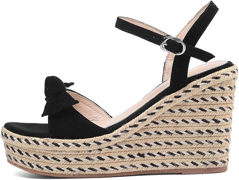 Sandals Fashion Platform High Heel Sandals Summer Ladies Wedge Sandals One-Button Sandals 10Cm Thick Platform Sandals Open Toe Versatile Casual Sandals (color   Black, Size   37)