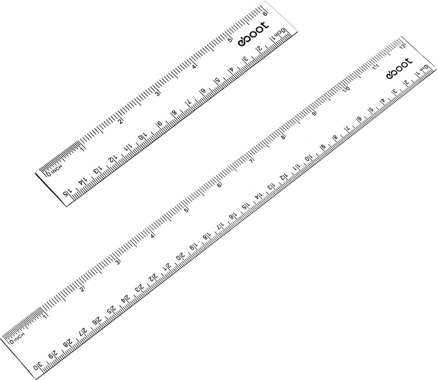 eBoot 2 Pieces Plastic Color Ruler Straight Ruler Math Rulers 6 Inches, Black