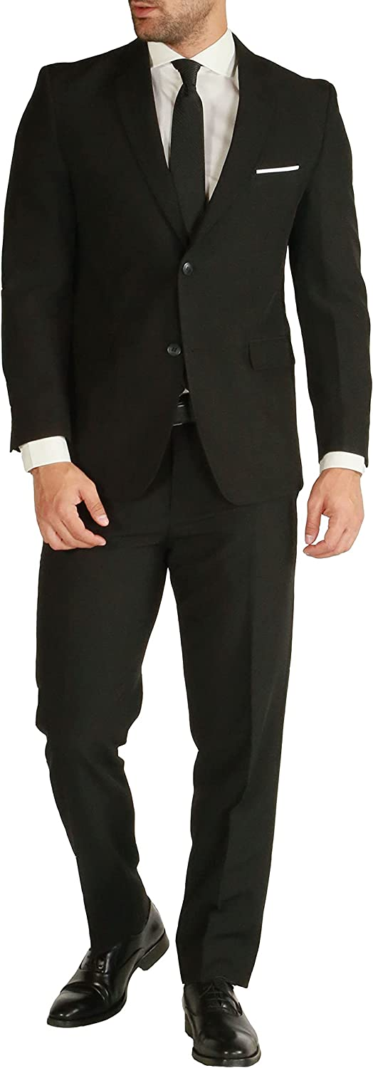 44R Paul Cheap mail order shopping Lorenzo Mens Black Slim SEAL limited product 2 Piece Suit for Fit Men