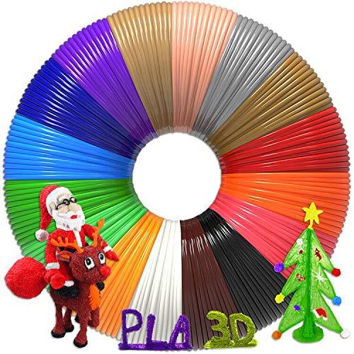 3D Pen Filament 320 Feet, 16 Colors,Each Color 20 Feet, Bonus 250 Stencils eBooks - 3D Pen/3D Printer PLA Filament 1.75mm, High-Precision Diameter and Kids Safe Refill