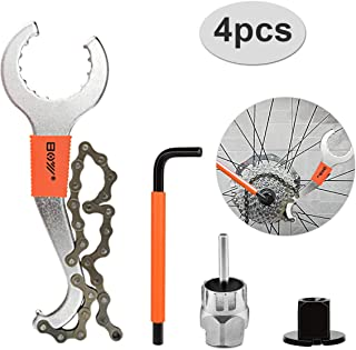 XCH Robots Chain Whip Bike Tool, Cassette Removal Tool with Chain Whip and Auxiliary Wrench Bicycle Sprocket Removal Tools Sprocket Remover, Chain Whip Tool