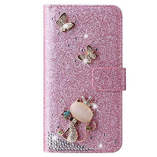 Schutzhülle für Huawei P30, 3D-Glitzer-Edelsteine Schmetterling Sparkle Bling Cover Stoßdämpfung Flip PU Leder Schutzhülle TPU Bumper mit Magnetständer Kartenfächer für Mädchen Frauen Rosa