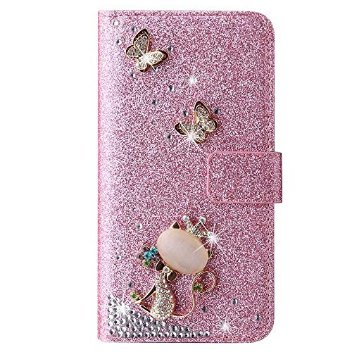 Schutzhülle für Honor 10 Lite/Huawei P Smart 2019, 3D Glitzer Gems Schmetterling Sparkle Bling Cover Stoßdämpfung Flip PU Leder Schutzhülle TPU Bumper mit Magnetständer Kartenfächer Pink