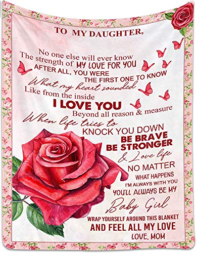 """Personalized Fleece Blanket to My Daughter from Mom - No One Else Will Ever Know - Customized Animal Flower Blanket - 50"""" x 60"""""""