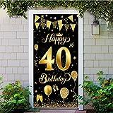 40 Geburtstag Dekoration Schwarz Gold, 40 Geburtstag Party Dekor für Frau Mann, Extra Große Stoff Schild Poster zum 40, Prost auf 40 Jahre Banner Willkommen Veranda Zeichen für Männer Frauen 40