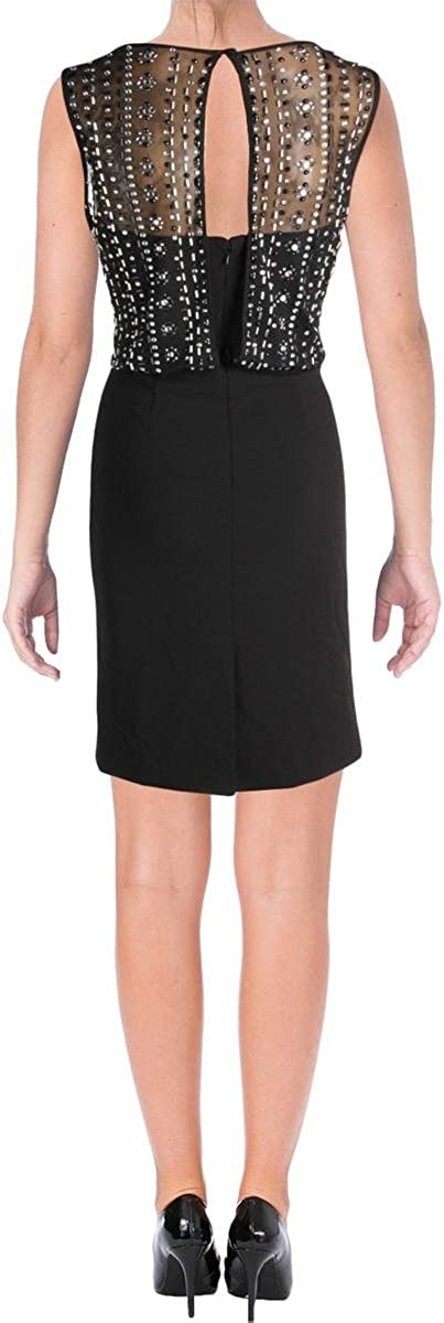 Vince Camuto Women's Beaded Back Sheath Dress (10, Black)