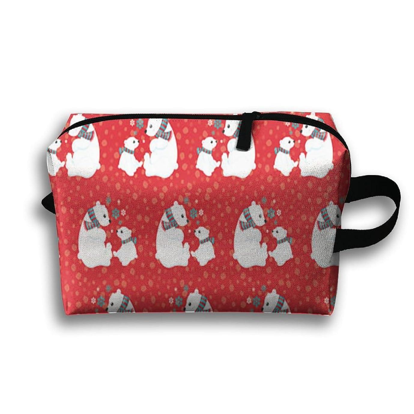 辛なアラバマテーブルを設定するChristmas Polar Bearsポータブルバッグ化粧品バッグキャンバスバッグ週末バッグ