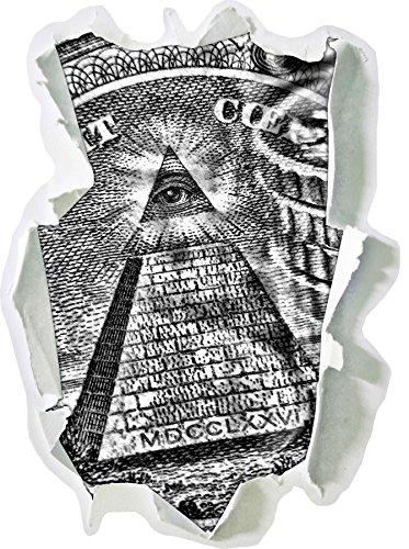 Stil.Zeit Monocrome, Illuminati Pyramide, Black and White Papier im 3D-Look, Wand- oder Türaufkleber Format: 62x45cm, Wandsticker, Wandtattoo, Wanddekoration