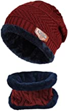 Soft Thick Warm Hats Knitted Ski Skull Caps Winter Beanies with Scarf Set for Men and Women