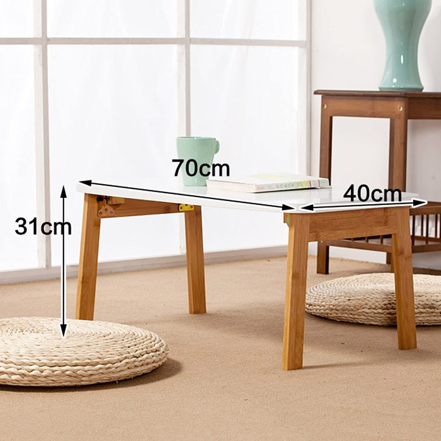 Xiaomei Nanzhu Laptop Desk Bed Foldable Table Floating Window Small Table Lazy Desk Study Writing Desk (color   Natural Wood, Size   70)