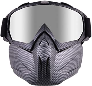 Volwco Motorcycle Helmet Riding Goggles Glasses with Removable Face Mask and Adjustable Strap, Motorbike Motorcycle Bike Off-Road Riding Mask with HD Goggles Glasses