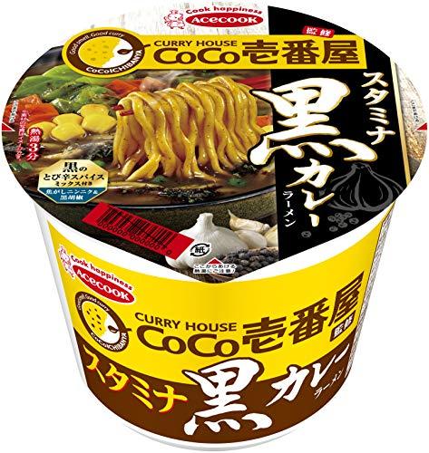 エースコック CoCo壱番屋監修 スタミナ黒カレーラーメン 106g ×12個