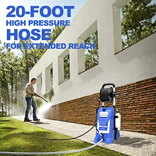 mrliance 3800PSI Electric Pressure Washer 2000W 3GPM High Pressure Power Washer Car Washer with Hose Reel, 5 Adjustable Nozzles, Soap Bottle (Blue)