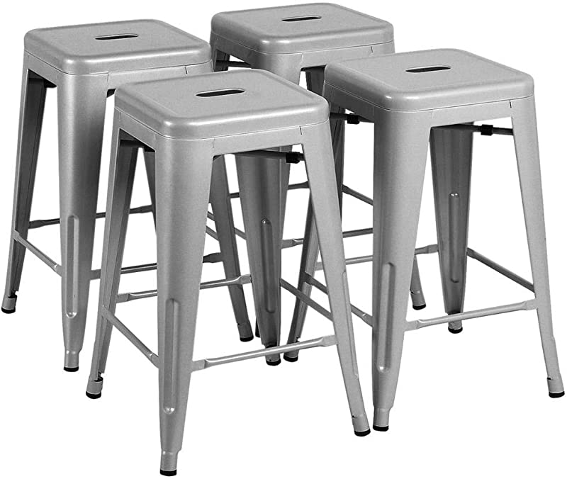 Yaheetech 24 Inches Metal Bar Stools High Backless Indoor Outdoor Counter Height Stackable Stools Kitchen Counter Chair Island Set Of 4 Silver 331 Lb