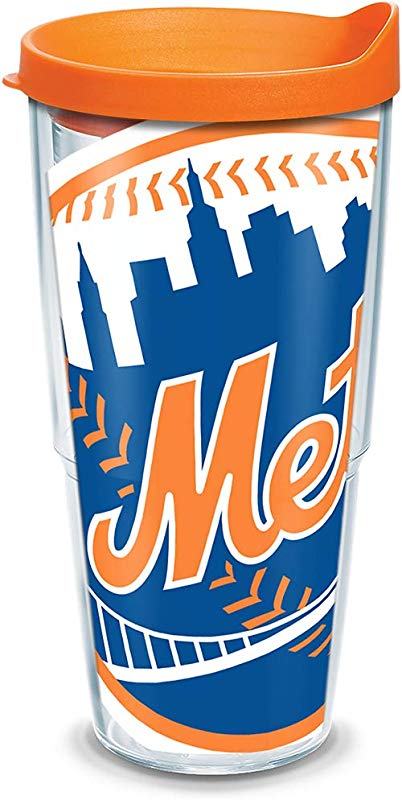 Tervis 1097602 MLB New York Mets Col Tumbler With Orange Lid Wrap 24 Oz Clear