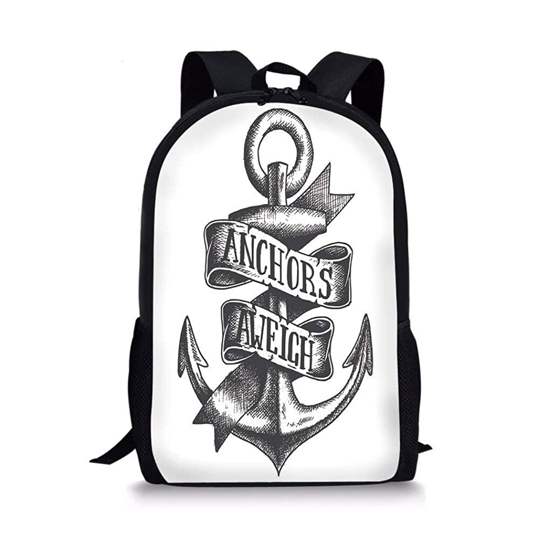 School Bags Anchor,Tattoo Style Old Navy Symbol Sketch with Ribbon and Vintage Lettering Insignia Decorative,Black White for Boys&Girls Mens Sport Daypack