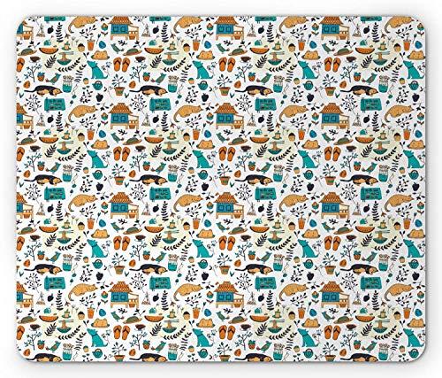 Doodle Mouse Pad, Zomer Tuin Fundamentals Planten Vogels Slapende Kat Hond Flip Flops, Antislip Rubber Mousepad muismat