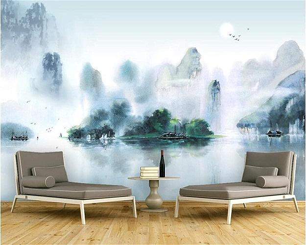 NIXI Stickers muraux Papier Peint 3D Stéréo Encre Jiangnan Paysage Peinture Moderne Abstrait Art Mural Art Decal Mural,200  140cm,