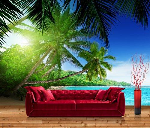 Vliestapete Fototapete Palmenstrand im Paradies - Größe: 400 x 280 cm, 8-teilig