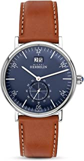 Men's Watch Michel Herbelin - 18247/15GO - INSPIRATION - Date - Blue Dial - Brown Leather Strap