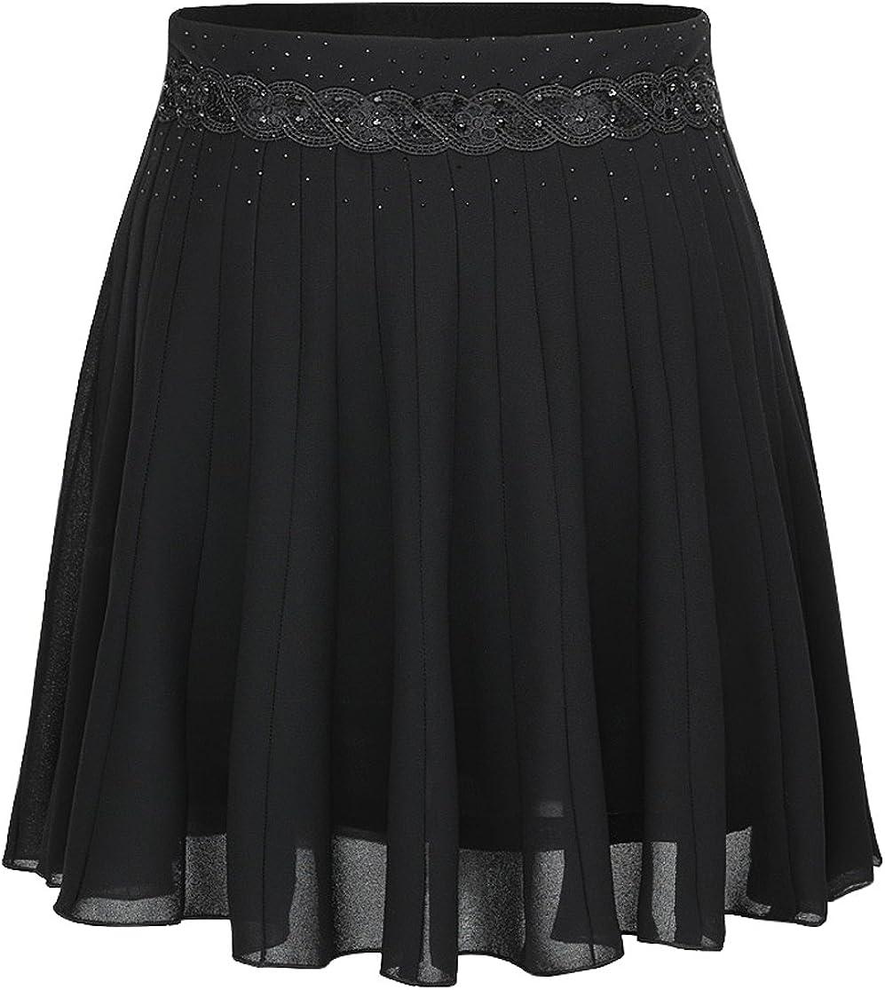 Springrain Women's Casual A-line Black Chiffon Skirt Above Knee