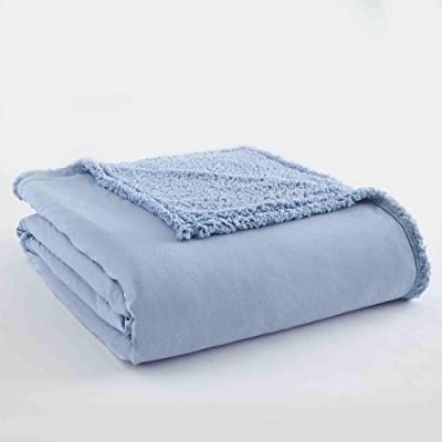 (Wedgwood) - Shavel Home Products 230cm by 230cm Micro Flannel Blanket with Sherpa Back, Full/Queen, Wedgwood