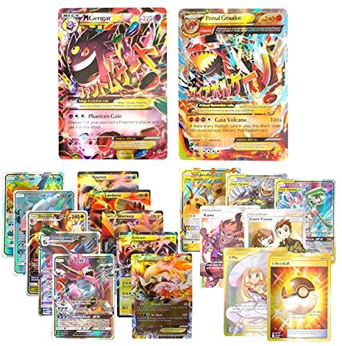 Mega EX Primal Groudon 86/160, Gengar 35/119 with 5GX, 5EX, 3 Tag Team GX, 3 Trainer, 1 Item / English Card / Standard Size / Glossy Series