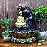 CHINESS Estatua De Buda Fuente De Interior, con Iluminación LED con Bomba, Fuente De Agua Que Fluye, De Polirresina Decoración Sala De Estar, Oficina