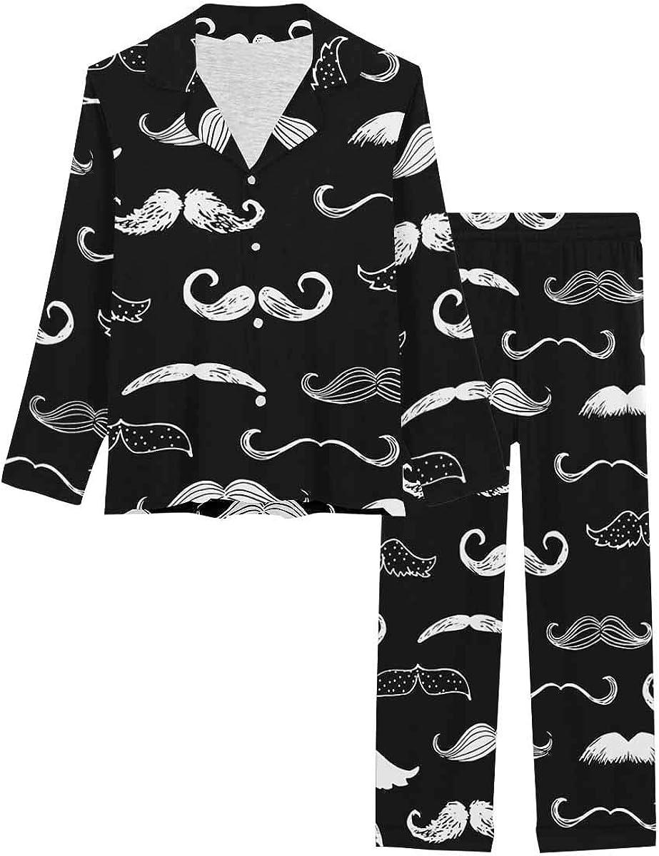 InterestPrint Sleepwear Button Down Loungewear with Clothing, Shoes  Jewelry  Long Pants B
