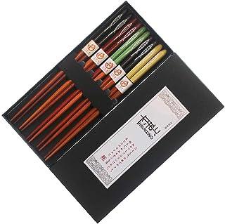 خمسة أزواج من عيدان الطعام اليابانية المزينة- 5 ألوان Hwy01