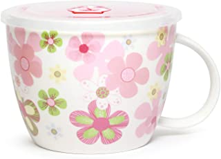 Microwavable Ceramic Noodle Bowl with Handle and Seal Fine Porcelain Floral Design (CherryBlossom)