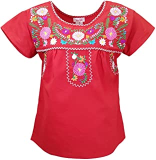 Sponsored Ad - unik Traditional Puebla Mexican Youth Girl Embroidered Blouse Size 4-14