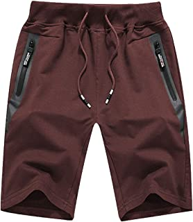 Men's Workout Shorts Lightweight Joggers Shorts Casual Cotton Shorts Drawstring with Zipper Pockets