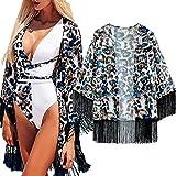 I3CKIZCE Kimono de gasa bohemio para mujer, estilo bohemio, con borla de playa, para verano, para la playa negro azul S