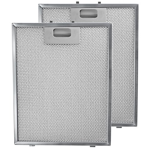 SPARES2GO Metalen gaasfilter voor ATAG afzuigkap/keukenafzuigkap/afzuigkap Ventilator (Pak van 2 Filters, Zilver, 300 x 240 mm)
