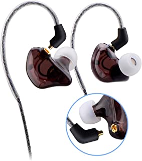 OKCSC Dual Dynamic Drivers DIY 3.5mm Plug Wired Earphones in-Ear Sports Headphones HiFi Headsets for Running Compatible with Apple iPhone and Android Smart Phones Transparent Brown