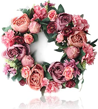 """15"""" Peony Flowers Garland Wreath,Beautiful Artificial Spring and Summer Wreath Front Door or Home Decoration for Wedding Chri"""