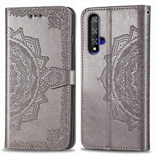 Bear Village Hülle für Huawei Nova 5, PU Lederhülle Handyhülle für Huawei Nova 5, Brieftasche Kratzfestes Magnet Handytasche mit Kartenfach, Grau
